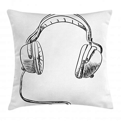 Ambesonne Music Throw Pillow Cushion Cover, Sketch Style Hand Drawn DJ Headphones Rhythm Radio Modern Hippie Art Illustration, Decorative Square Accent Pillow Case, 26