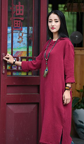 Women's Red Frog Wine Dresses Button Long Vintage Soojun Sleeve Chinese Maxi Linen Pqwdvpn