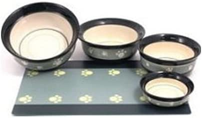 Rosewood Stoneware Ceramic Dog Bowl Hand Painted Green Paw 7 Amazon Co Uk Pet Supplies