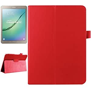 Litchi Texture Horizontal Flip Solid Color Smart Leather Funda Case Cover + Lápiz GRATIS con two-folding Holder & Sleep/Wake-up function para Samsung Galaxy Tab S29.7/T815(Red)