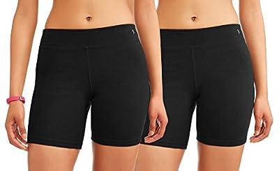 Danskin Now Women's Core Active Dri-More Bike Shorts, 2 Pack