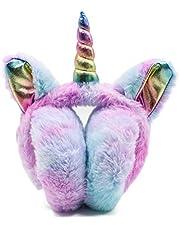 Mwfus Girls Cute Unicorn Winter Earmuffs Warm Fleece Ear Warmers, Great Gift Choices for Kids and Adults