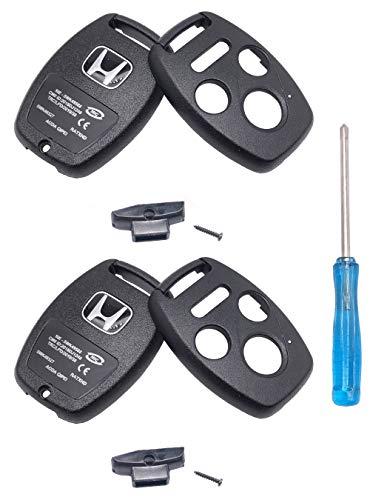 2 piezas sin corte 4 botones de repuesto para llave de control remoto para Honda 2003-2012 Accord 2006-2013 Civic EX 2009-2015 Pilot 2005-2006 CR-V Ridgeline Odyssey Key Fob Case