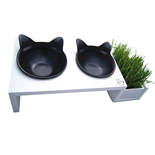 ViviPet Cat Dining Table 15° Tilted Platform Pet Feeder Solid Pine Stand with Ceramic Bowls Elevated Cat Feeder Raised Cat Bowl Mykonos Collection