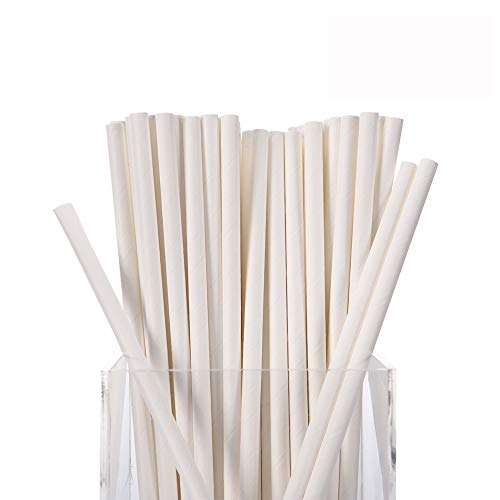 White Paper Straws,300 Pack 100% Biodegradable,7 3/4 inches Top Quality Drinking Straws by Hipoco
