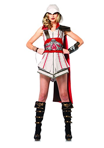 Leg Avenue Women's Assassin's Creed 4 Piece Ezio Deluxe Costume Cosplay, Grey/Red, Large