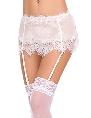 2 Piece Mesh Bustier - ADOME Women Lingerie Sexy Lace Suspender Garter Belt 2 Piece Mesh Garter Sets White Medium