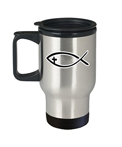 Jesus Fish Coffee Mug Cup (Travel) 16oz Religion Christian Catholic Gifts Shirt Poster Sticker Pin Decal Artwork Decor Accessories by Trinkets and Novelty