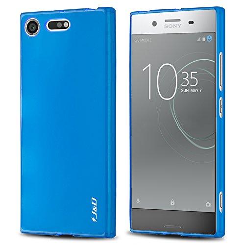 Xperia XZ Premium Case, J&D Shock Resistant Protective TPU Slim Case for Sony Xperia XZ Premium - Blue