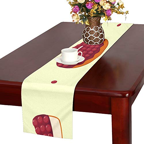 Baked Cherry Cheesecake - WJJSXKA Cheesecake Dessert Afternoon Tea Table Runner, Kitchen Dining Table Runner 16 X 72 Inch for Dinner Parties, Events, Decor