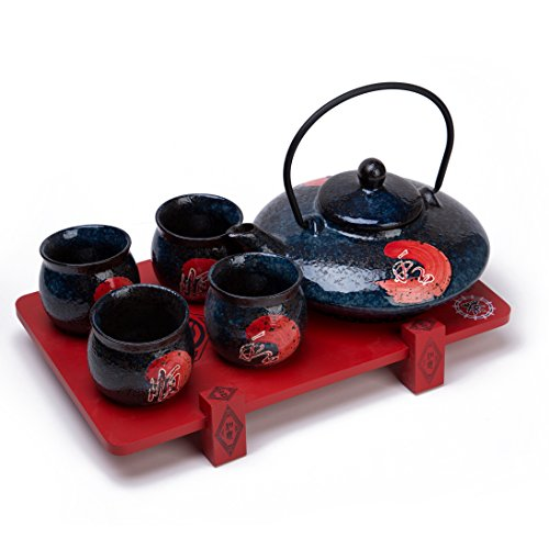 THY COLLECTIBLES Contemporary Art Decor Porcelain 5 PCS Tea Set Teapot Teacup With Wooden Stand