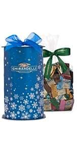 Ghirardelli Chocolate Blue Snowflake Cylinder