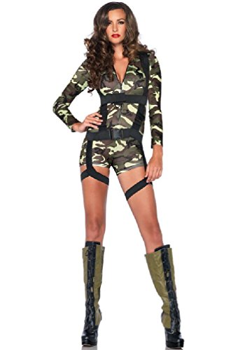 8eighteen Army Paratrooper Romper Military Harness Outfit Adult Costume (Sexy Army Uniforms)