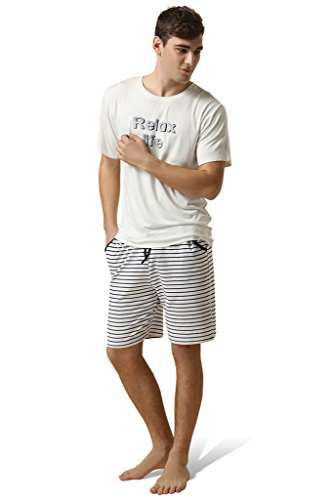 6a5d0fbf0d3 Galleon - Lasher Men s Summer Pajama Sets Relax Life 2 Pcs Short Sleepwear  Shorts With Top