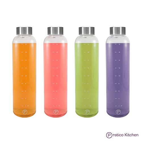Pratico Kitchen 20 oz Leak-Proof Glass Bottles, Juicing Containers, Water/Beverage Bottles - 4 Pack with Stainless Steel Caps (Chefs Bottle)