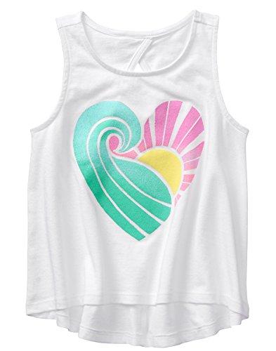 Gymboree Girls' Little Keyhole Back Graphic Tank, White Heart Wave M