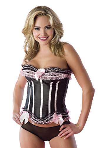 Velvet Kitten Frilly Corset with Satin Bows and Mesh Panty in Black / Pink - Medium (Corset Velvet Mesh)
