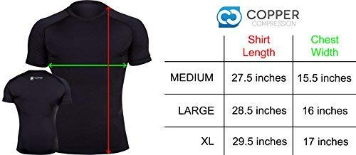 Copper Compression Short Sleeve Men's Recovery T Shirt. Highest Copper Content Guaranteed. Support Sore & Stiff Muscles & Joints. Best Compression Fit T-Shirt Running, Basketball, Sports Wear (Large) by Copper Compression (Image #1)