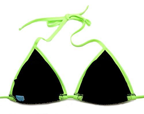Colloyes Mujer Encaje Traje de Baño Dos Piezas Bikini Triangle Top Lace Swimsuit Swimwear Multi-estilo 12-Negro y Doble Encaje