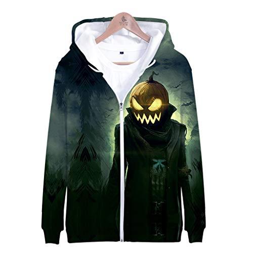 Men's Fashion TOP Halloween 3D Print Long Sleeve Zipper Hooded Sweater Jacket Green