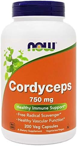 NOW Foods Cordyceps 200 Vegan Caps, 750mg, Organic Cordyceps Sinensis Mycelium Mushroom Powder - in Non-Organic Capsules - Non-GMO VCaps
