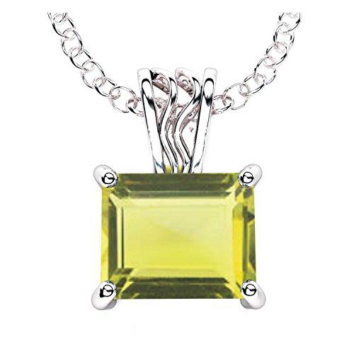- 14K White Gold Finish 1.15Ctw Princess Cut Citrine CZ Pendant Necklace