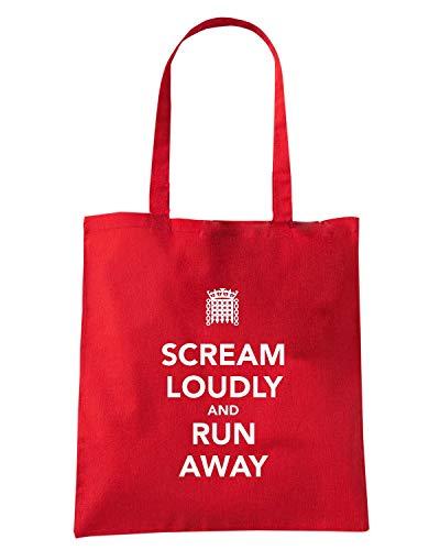 Speed Shirt Borsa Shopper Rossa TKC4063 KEEP CALM AND SCREAM LOUDLY AND RUN AWAY