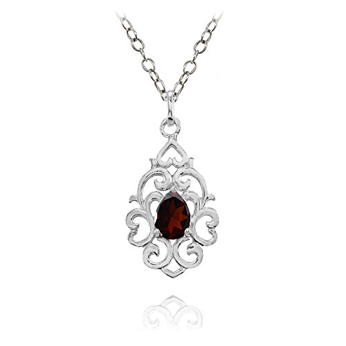 Ice Gems Sterling Silver Garnet Filigree Heart Teardrop ()