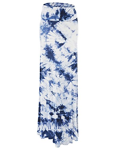 - Lock and Love WB1058 Womens Tie Dye Fold Over Maxi Skirt XXXL White_Navy