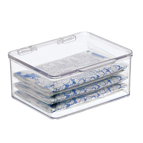 mDesign Plastic Stackable Kitchen Pantry Cabinet/Refrigerator Food Storage Container Box, Attached Lid - Organizer for Coffee, Tea, Packets, Snack Bars - BPA Free, Food Safe - Small - Clear