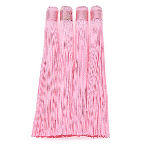 4 Pcs Handmade Silk Tassel DIY Earring Decor Pendant Key Chains Bag Accessories (Color - Pink)