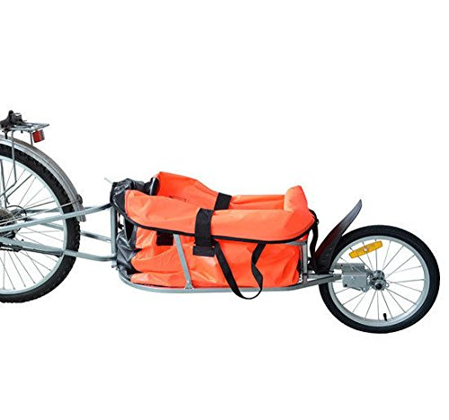 Aosom Solo Single-Wheel Bicycle Cargo Bike Trailer, Orange by Aosom
