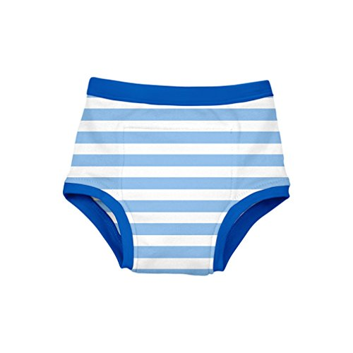 green sprouts Reusable Absorbent Training Underwear, Light Blue Stripe, 3T