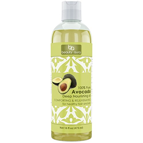 Beauty Aura 100% Pure Avocado Oil - 16 Fl Oz - Support the healing of sun damaged, wrinkled and dry skin - Condition dry and damaged hair