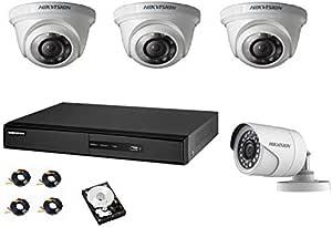 هيكفيجن كاميرات مراقبة مع جهاز تسجيل من أربع قنوات كي 1 هارديسك 1تيرا 3 داخلي 3.6 ملم كاميرات 1 عدسة قابلة للتعديل خارجي كاميرا و4x20 متر أسلاك توصيل1280x720