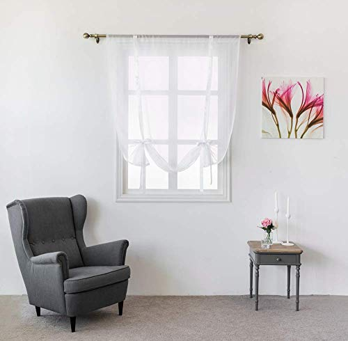 Shade Valance Drape - WUBODTI Tie Up Curtain Panels White Sheer Voile Window Treatments Tie Up Shades Balloon Short Drapes Valance Sheer for Small Window,Kitchen,Bedroom,Living Room,Nursery Room (Color 1, 39W x 47L Inch)
