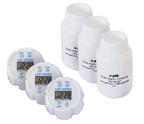 e-pill TimeCap Pill Timer 3 Pack. TimeCap Automatically records last opened Day and Time.