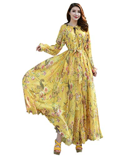 Medeshe Women's Long Sleeve Floral Holiday Beach Bridesmaid Maxi Dress Sundress (Yellow Owl Floral, XS/S)