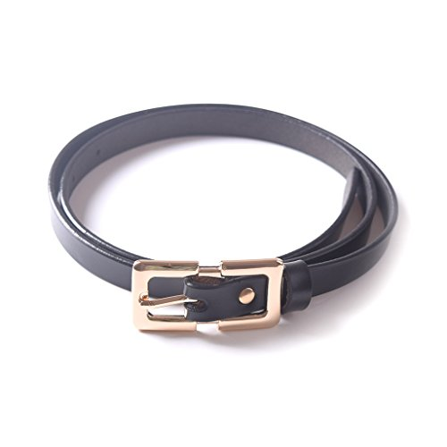 Thin Black Belt (Genuine Leather Black Thin Skinny Belt Elongated Buckle Mother's Day)