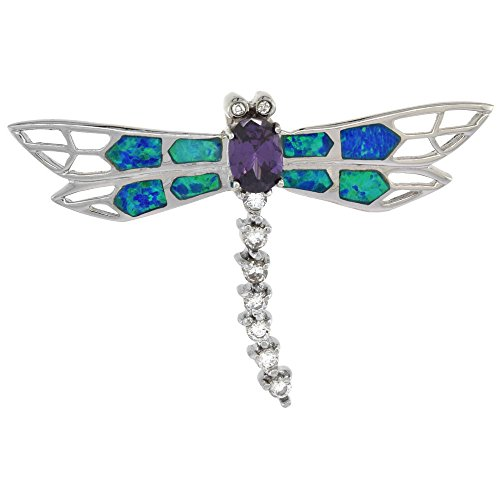 Sterling Silver Synthetic Opal Dragonfly Pendant Hand Inlay Amethyst CZ Cubic Zirconia Accent 1 3/4 inch