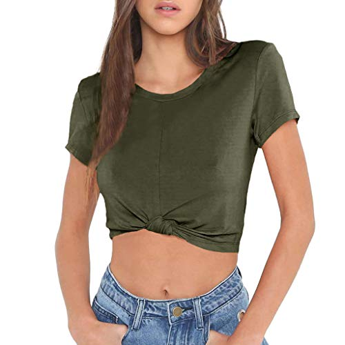 Toimothcn Women Short Sleeve O-Neck Solid T-Shirt Tie Knot Front Slim Crop Tops(Army Green,L) ()