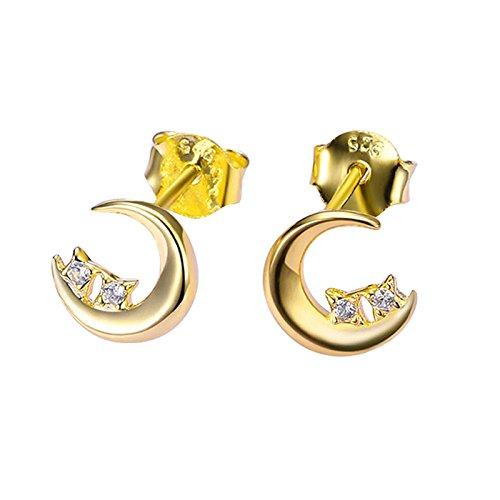 MoAndy Silver Plated Women Stud Earrings Crystal Moon Star Cubic Zirconia - Earrings Luna Radish