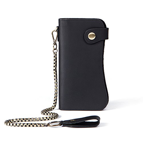Men's Vintage Leather Extra Capacity Card Holders Cowboy Long Bifold Chain Wallet Black