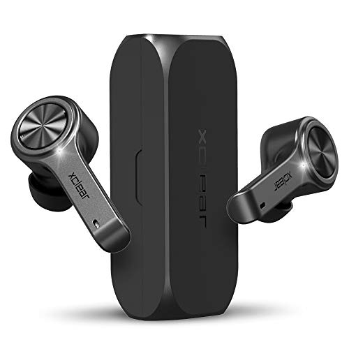 XClear Wireless Earbuds with Immersive Sounds True 5.0 Bluetooth in-Ear Headphones with Charging Case/Quick-Pairing Stereo Calls/Built-in Microphones/IPX5 Sweatproof/Pumping Bass for Sports Black