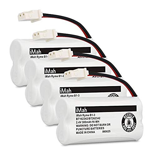 iMah BT162342/BT262342 2.4V 300mAh Ni-MH Cordless Phone Batteries Compatible with VTech CS6719 CS6114 CS6409 CS6419 CS6429 at&T CL80112 EL52300 EL52400 Handset Telephone, Pack of 4 -  iMahDirect, B1-3_BT162342-300mAh-4