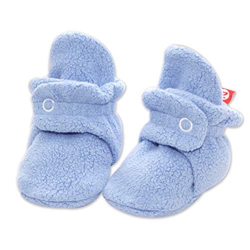 Zutano Fleece Baby Booties|Soft Sole Stay On Baby Shoes, Light Blue, 3 Months