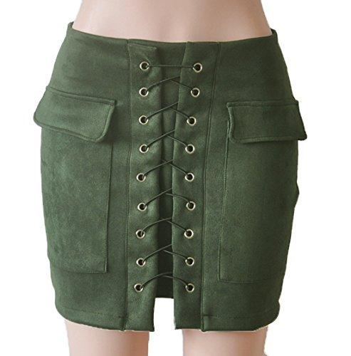 Fr?ulein Fox t Jupes Femme Fashions Couleur Unie Moulante Package Hanche Mini Jupe Elegante Traverser Bandage Court Jupes de Party Vert