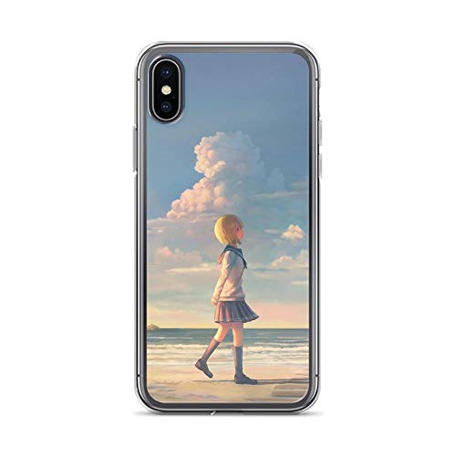 iPhone X/XS Pure Anti-Scratch Shockproof Case Japanese Comic Manga Anime Girl Walking On Beach with Cat Anime Japan Kawaii