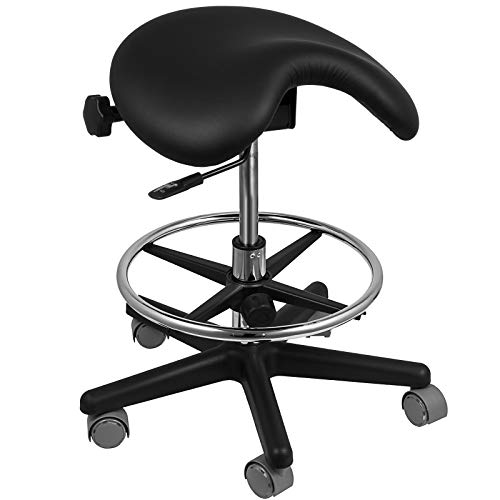Happybuy Saddle Stool Massage Chair Adjustable Swivel Hydraulic Gas Lift Ergonomic Stool Rolling Dental Saddle Chair Office Stool with Saddle Seat for Dentist and Office ()