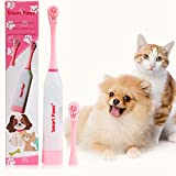 ZBW Pet Electronic Toothbrush with 2 Pack Soft Hair Brush Replaceable Heads for Dog Cat